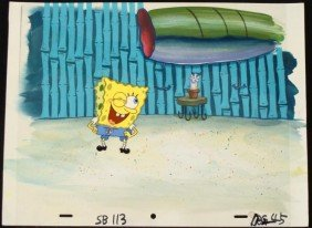 Original SpongeBob Animation Cel & Background Wink!
