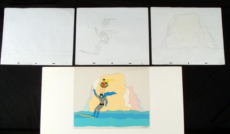 Batman & Robin Orig Animation Production Cel w/ Drawing