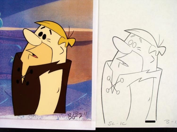 Barney Original Animation Cel Flintstones Drawing Uh-Oh - 2