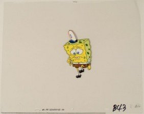 Orig SpongeBob Animation Production Cel Cautious Steps