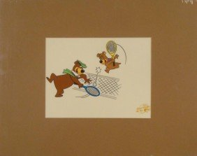 Yogi Bear & Boo Boo Ltd Animation Serigraph Cel Tennis