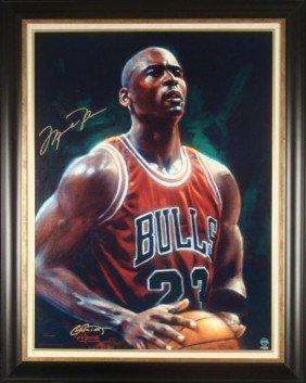 Michael Jordan Signed Fine Art Print Framed -Next Point