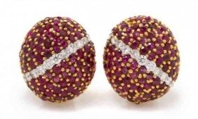 Pair Of 18 Karat Yellow Gold Ruby And Diamond Bombe Ea