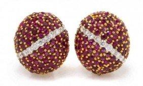 Pair of 18 Karat Yellow Gold Ruby and Diamond Bombe Ea