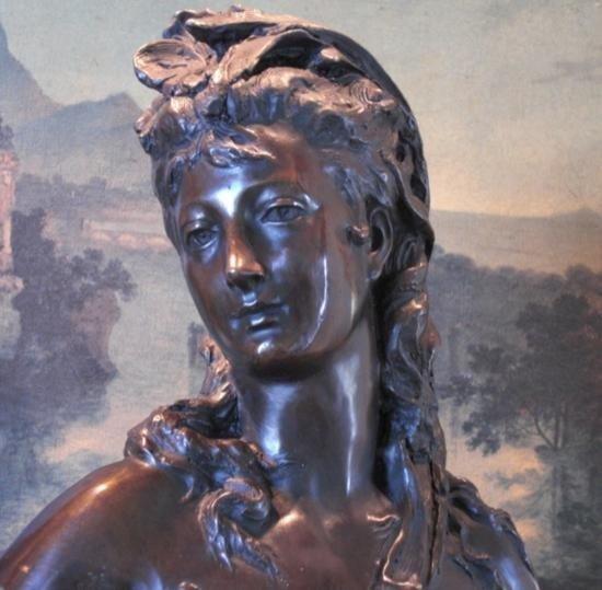 Dazzling Bronze Bust Sculpture Renaissance Woman Nu - 2