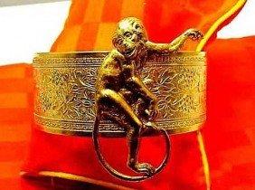 Vintage Art Nouveau Brass Womens Cuff / Bangle Monkey B
