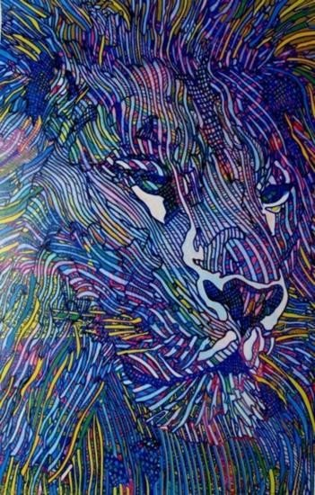 Guillaume Azoulay LE LION Hand Signed Giclee on Canvas