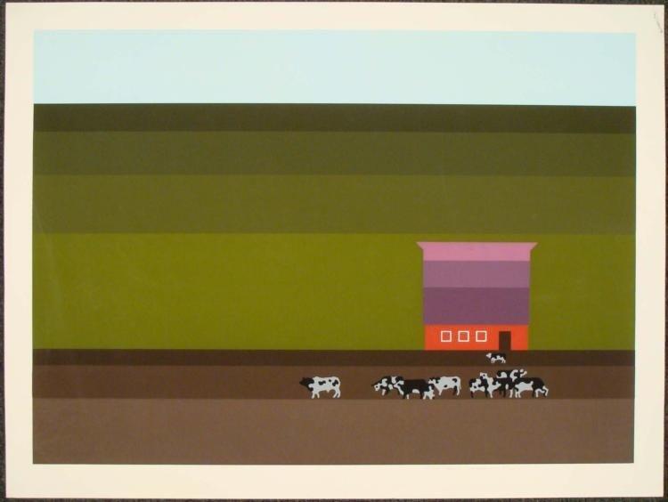 Steve Horan Signed Art Print Holsteins Cows 1976