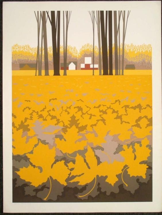 Steve Horan Signed Autumn Landscape Art Print Leaves
