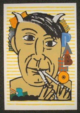 Seymour Chwast Signed Print Pablo Picasso Portrait Art