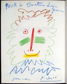 Picasso Original Drawing Signed In Galerie Madura Book