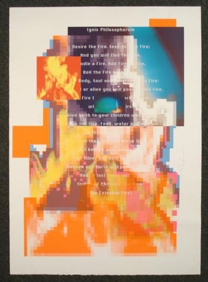 "April Greiman Signed Print ""Fire"" Modern Art Design"