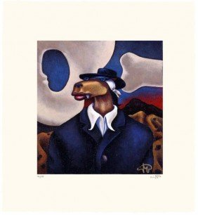 Markus Pierson 'COYOTE PORTRAIT OF O'KEEFE' Paper
