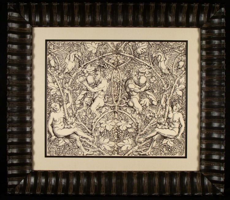 Hans Sebald Beham Antique Woodcut Print 1850 Rare