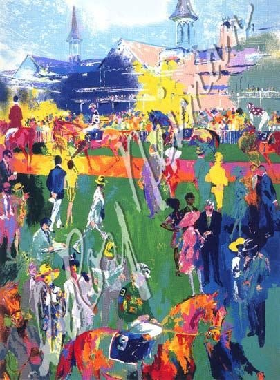 LE Signed Derby Day Paddock Serigraph LeRoy Neiman
