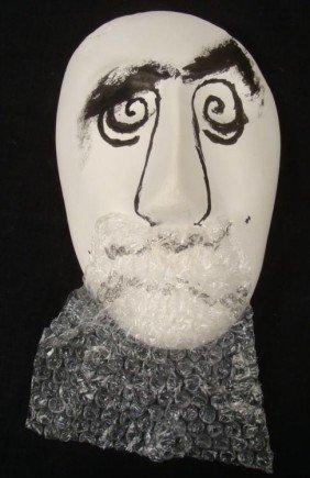 Al Hirschfeld Mask Art Original Painted Sculpture 1999