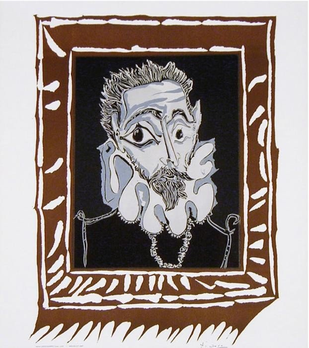 Picasso Art Print Man with Ruff Color Lithograph 1963