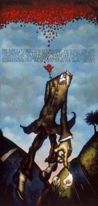 Markus Pierson 'Red Sky Blue Heart' Serigraph