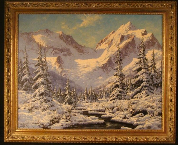 Lazlo Neogrady Original Painting Mountains in Winter