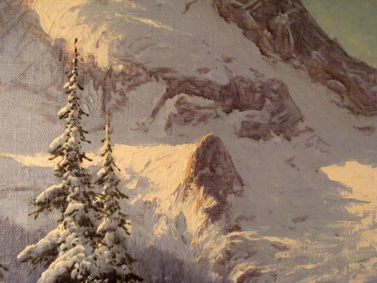 Lazlo Neogrady Original Painting Mountains in Winter - 2