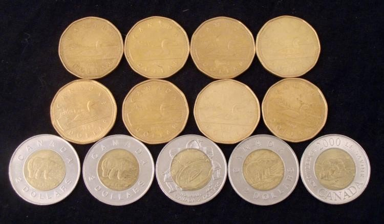 13 Diff Date Canadian $1 & $2 Coins 1987-2000 Some UNC