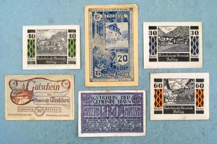 6 Pc Austria 1920 Heller Paper Money 10 20 30 50 60 80