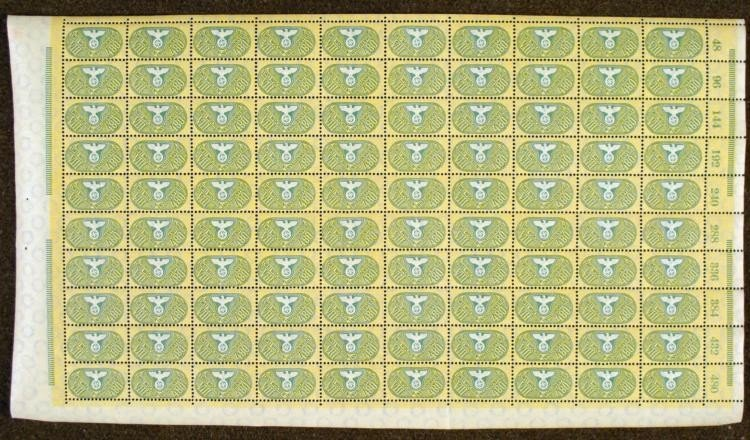 FULL SHEET OF 100 NAZI WWII EMBOSSED DUES STAMPS