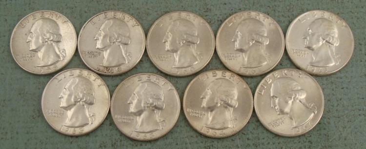 9 Diff Date UNC Washington Silver Quarters