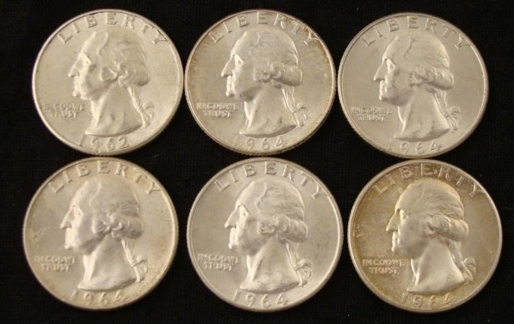 6 Mixed Date UNC Washington Quarters 1962-1964