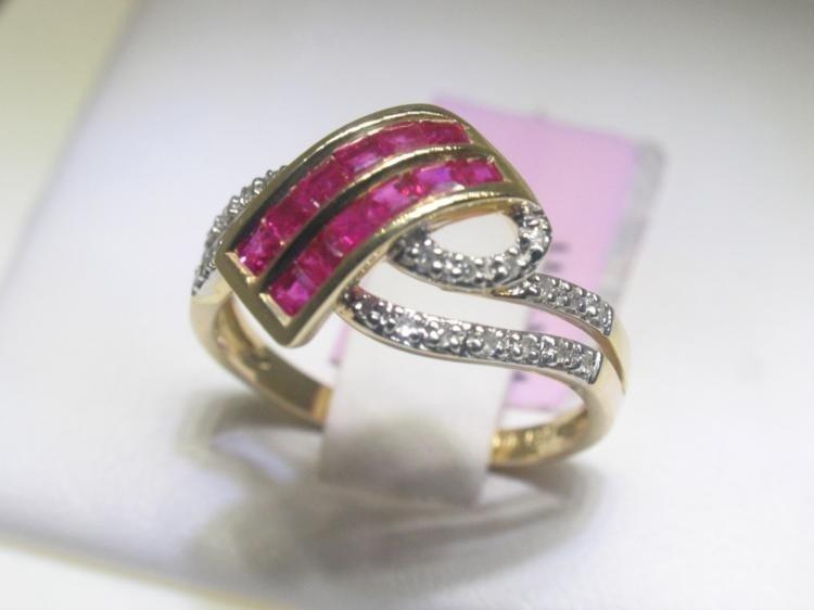 Ruby and .13 Carat Diamonds 14K Yellow Gold Ring