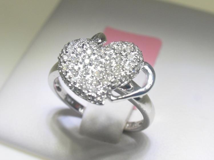 .30 Carat All Diamonds Heart Design 14K White Gold Ring