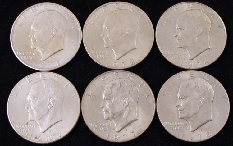 6 Eisenhower Ike Dollars 1971, 72, 74, 76, 77, 78