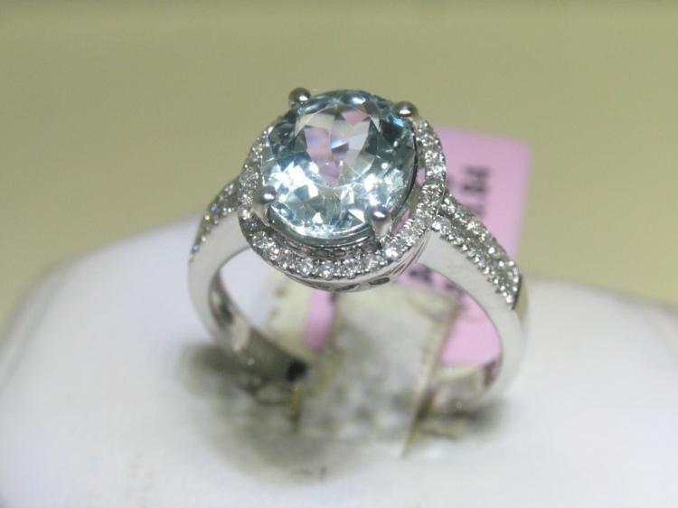 Aquamarine and .41 Carat Diamonds 14K White Gold Ring