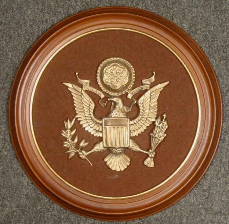 LARGE FRAMED BRASS GREAT SEAL OF THE UNITED STATES