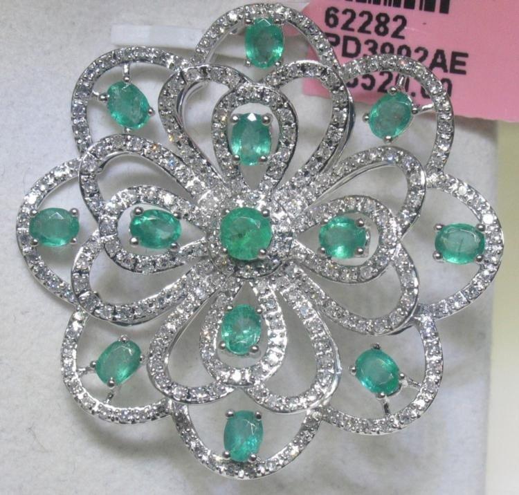 Emerald and 1.01 CT Diamonds 14K White Gold Pendant