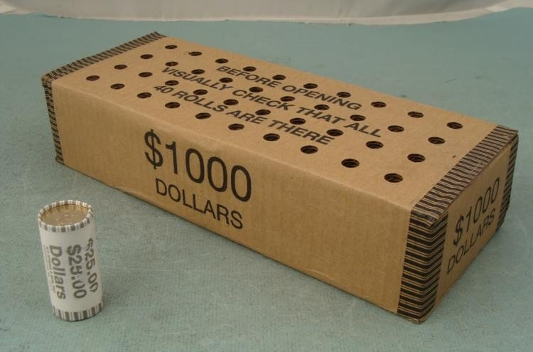 Mint Box 40 Mixed Dollar Coin Rolls Unsearched