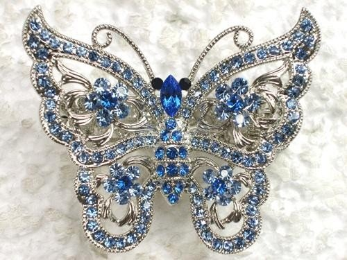 LOVELY BLUE RHINESTONE CRYSTAL BUTTERFLY HAIR CLAW