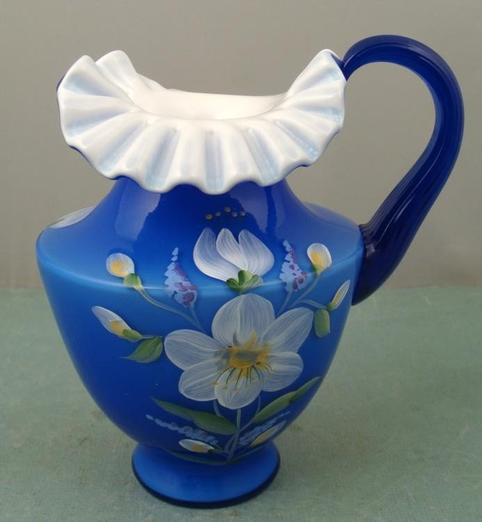Fenton Cobalt Blue Overlay Pitcher Hand Painted, Signed