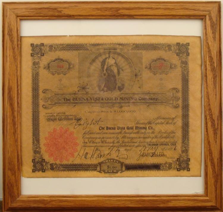 BUENA VISTA GOLD MINING CO STOCK CERTIFICATE 1896 FRAMD