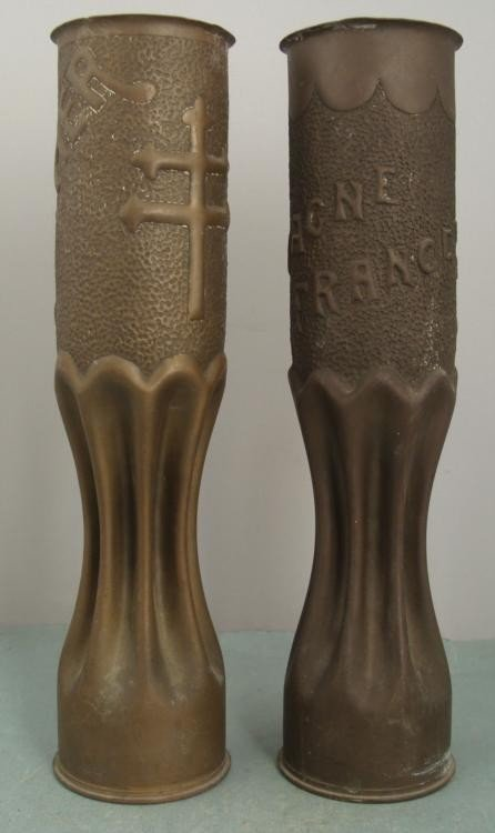 PAIR OF WWI U.S. DOUGHBOY TRENCH ART-SHELLS -FRANCE - 2