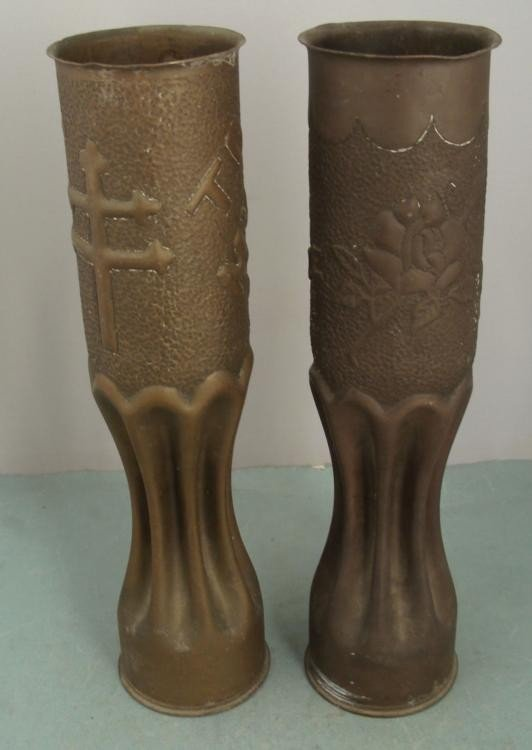 PAIR OF WWI U.S. DOUGHBOY TRENCH ART-SHELLS -FRANCE - 3