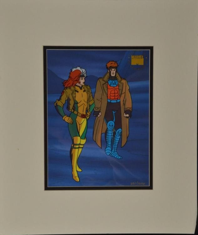 Rogue & Gambit Ltd Ed X-Men Animation Cel Mavel w/COA