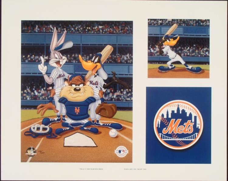 Looney Tunes Lithograph New York Mets Taz Bugs Daffy LE