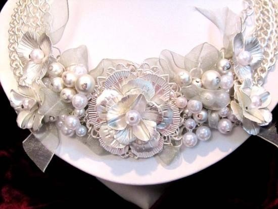 HANDMADE VICTORIAN OOAK PEARL AND RIBBON BIB NECKLACE A