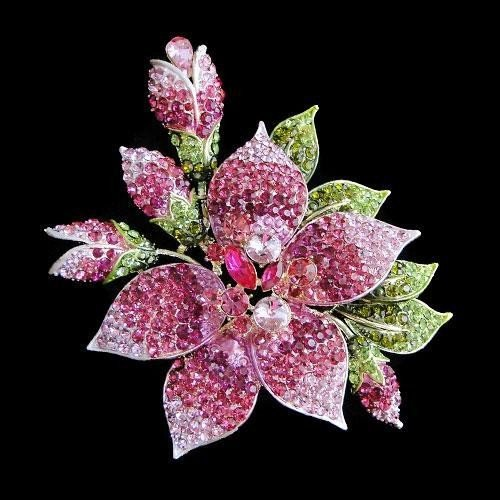 HUGE 5.5inch Floral Swarovski Crystal Brooch