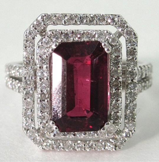 An 14K White Gold Rubelite and Diamond Ring
