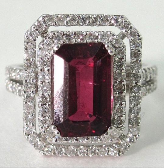 An 14K White Gold Rubelite and Diamond Ring