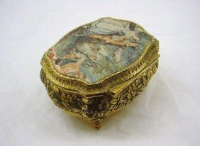 Vintage Victorian Footed Brass Music Box with Padded Co
