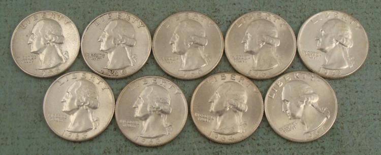 9 Diff Date UNC Washington Silver Quarters