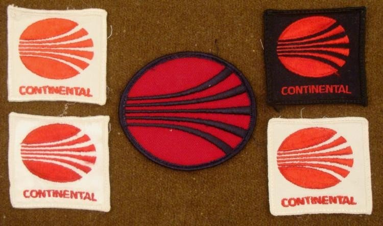 5 VINTAGE CONTINENTAL AIRLINE PATCHES